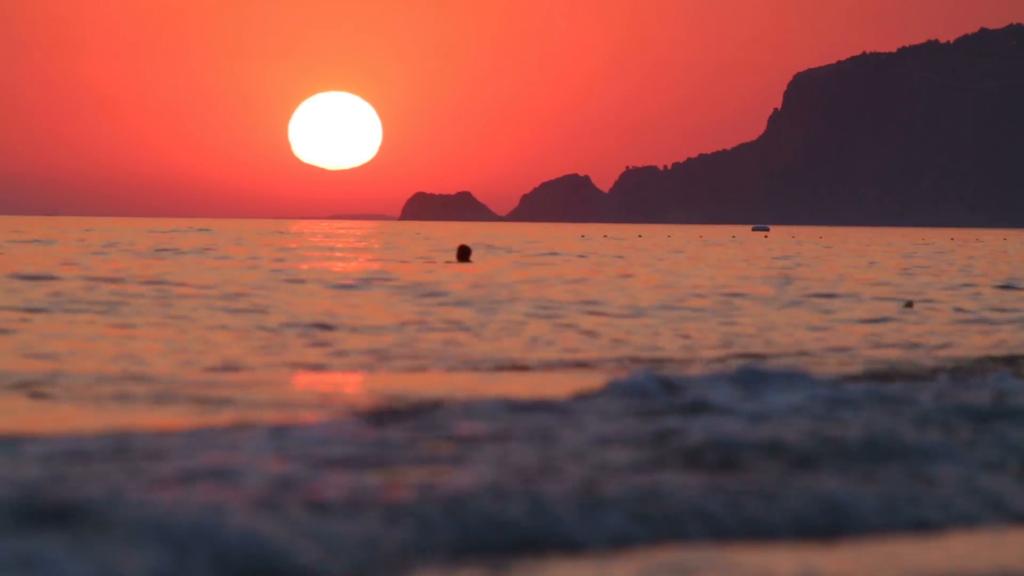 Iemand die aan het zwemmen is in zee met ondergaande zon.