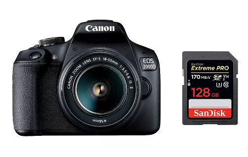 Een Canon spiegelreflexcamera met een SD kaart van SanDisk. De SD kaart heeft een opslagcapaciteit van 128 gb en is de Extreme Pro.