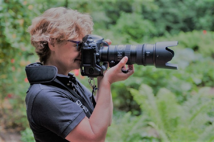 Een professionele fotograaf met een Canon camera in de natuur. Foto's worden opgeslagen op een SD kaart om zo alle foto's op te slaan.
